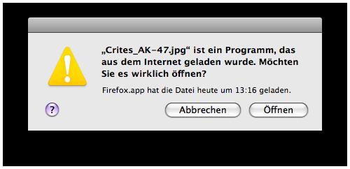 Eine unsinniger Meldung von Mac OS 10.5
