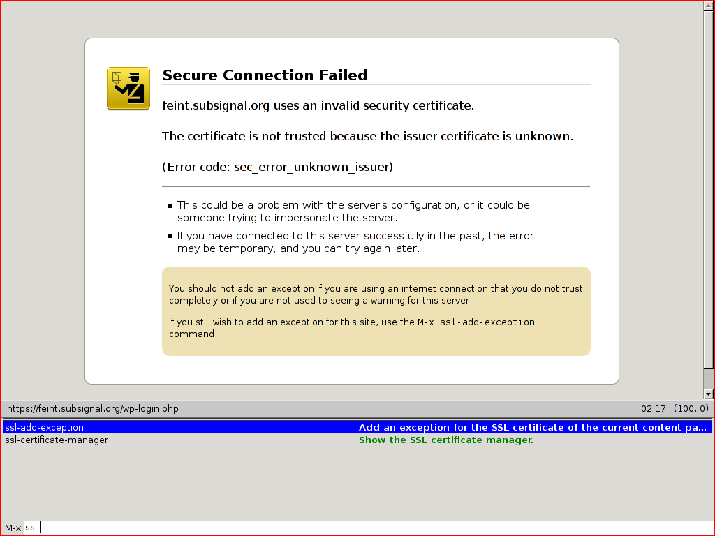 use the M-x ssl-add-exception comand